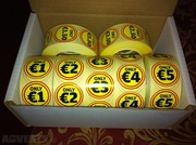 Box of 7 rolls of labels,  1, 000 per roll,  Bargain promotional stickers